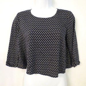 Pins & Needles UO crop top blouse S Black feathers
